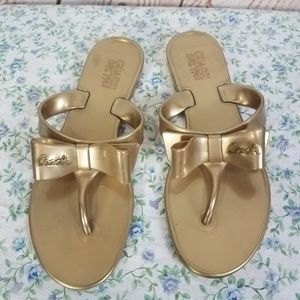 Coach 5 Gold Jelly Thong Sandals Rubber Sandals